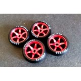 XRX Red Limited Edition 1/24 tires/rims Combo +1 offset Wide 11.5mm x2 narrow 8.5mmx2 (4pcs Drift Tires/Rim Set)