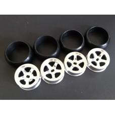 XRX Type B-Silver +1 offset Wide 11.5mm x2 narrow 8.5mmx2 (4pcs Drift Tires/Rim Set) 24.5mm high