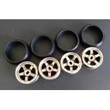 XRX Type B-Gold +1 offset Wide 11.5mm x2 narrow 8.5mmx2 (4pcs Drift Tires/Rim Set) 24.5mm high