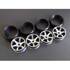 XRX Type C-Type C-Light Dark +1 offset Wide 11.5mm x2 narrow 8.5mmx2 (4pcs Drift Tires/Rim Set) 24.5mm high