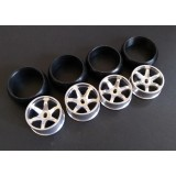 XRX Type C-Silver +1 offset Wide 11.5mm x2 narrow 8.5mmx2 (4pcs Drift Tires/Rim Set) 24.5mm high