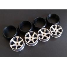 XRX Type C-Silver +1 offset Wide 11.5mm x2 narrow 8.5mmx2 (4pcs Drift Tires/Rim Set) 24.5mm high